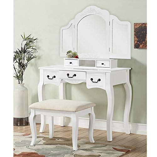- Soges 5 Drawer Vanity Table and Stool Set, Wood Makeup Dressing Table with Tri-Folding Mirror, Cushioned Stool, Bedroom Furniture, Easy Assemble White QMJ-DRT-W