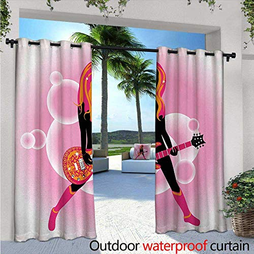 Popstar Party Indoor/Outdoor Single Panel Print Window Curtain Illustration of Woman with Stylized Guitar on Pink Bubble Backdrop Silver Grommet Top Drape W120 x L96 Pink Orange Black
