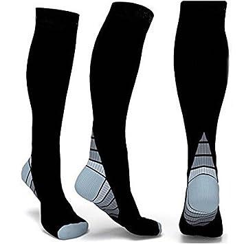 Progoco Rodilla Alta Calcetines de compresión para hombres y mujeres,Ideales para El Uso Diario