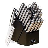 Gibson Oster 70562.22 Baldwyn 22-Piece Cutlery Block Set, Brushed Satin