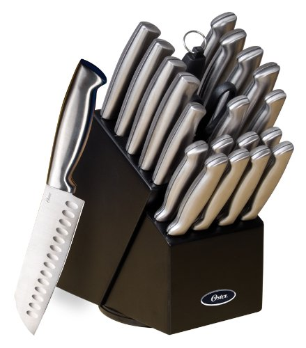 - Oster 70562.22 Baldwyn 22-Piece Cutlery Block Set, Brushed Satin