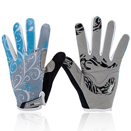 Basecamp Mountain Road Bike Gloves,Cycling Bicycle Gloves Spiderweb Full Finger Screen Touchable Outdoors Sports Gloves Men/Women Work Gloves (Fairy flower blue, L)