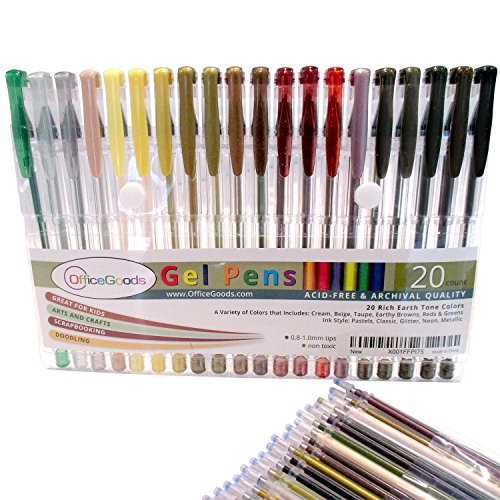 20 Earth Tone Gel Pen Set by OfficeGoods with Refills = 40! Perfect for Your Nature Scenes & Animals – Premium & Vivid Colors in Glitter, Metallic, Neon, Pastels & - Colours Yellow Skin For Tone