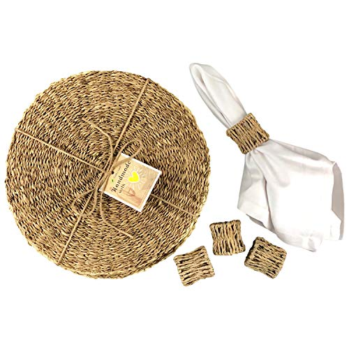 (Cork & Leaf Handmade Bundle (Set of 4) Round Seagrass Plate Chargers and Natural Napkin Rings for Kitchen, Dining Table, Rustic Décor, Dinner Party Decorations All)
