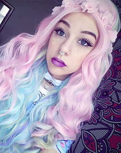 [Heahair Ombre Rainbow Synthetic Lace front Wig Ombre Pink Synthetic Wig for Woman Cosplay Synthetic] (Chibi Halloween Costume)