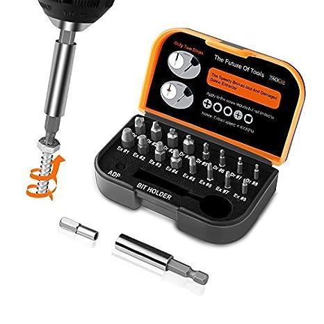 TACKLIFE 18PCS Extractor de Tornillos, Brazo Extensor para Broca Magnetizado y Adaptador para Tornillos y Pernos Dañados Desde 2mm hasta 12mm, Dureza ...