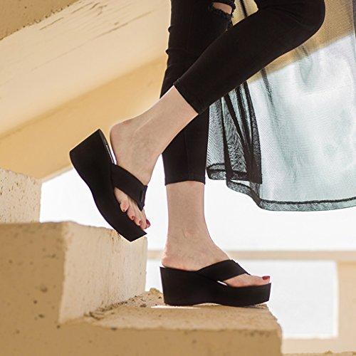 en D'épaisseur Semelle À De EVA Hauts Usure Talon Femme Clip Épais Marron Extérieure Caoutchouc Pantoufles Toe Talons Chaussures Été Mode Pente Sandales xPn7Uvnq