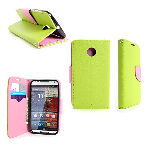 Motorola Moto X (2nd Generation) Wallet Case (Neon Green / Light Pink) CoverOn Credit Card Holder Carrying Pouch Phone Cover for Motorola Moto X XT1097 (2nd Generation, 2014) - Included Bonus; Clear Screen Protector and Wristlet Strap