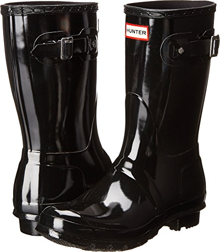 (Hunter Women's Original Short Gloss Snow Boot, Black, 8 M)
