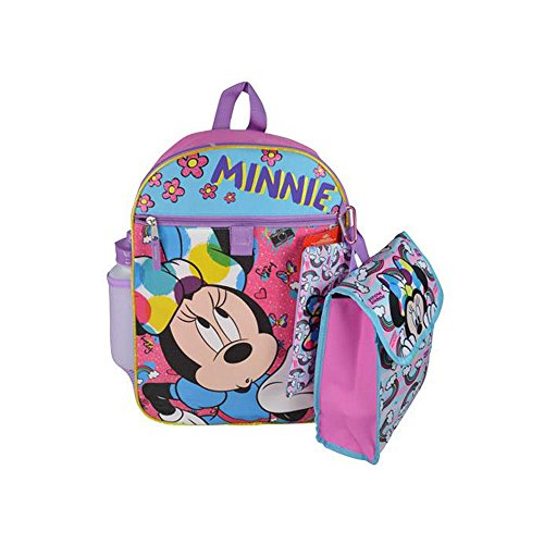 Disney Minnie Mouse Rainbow Backpack Book Bag Accessories and Lunch Bag with Water Bottle for Back to School - 5 Piece Set