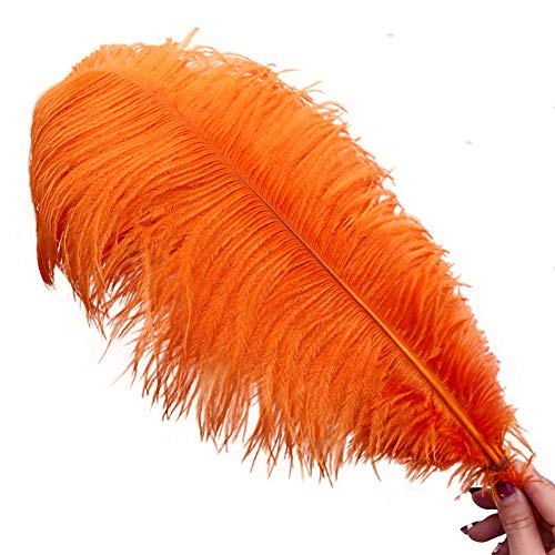 Shekyeon Orange 18-20inch 45-50cm Ostrich Feather Wedding Table Decoration Party Festival Supplies Pack of 5