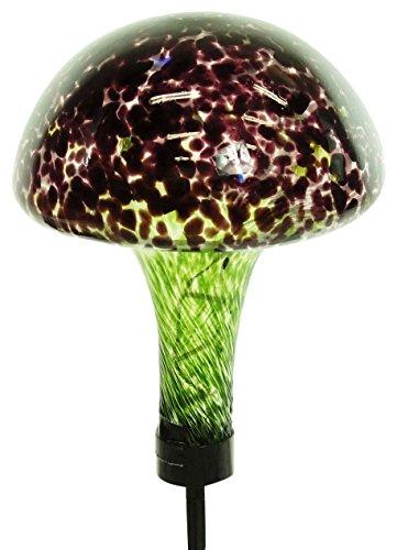 Alpine EGG156SLR Solar Glass Mushroom with 16 LED Lights
