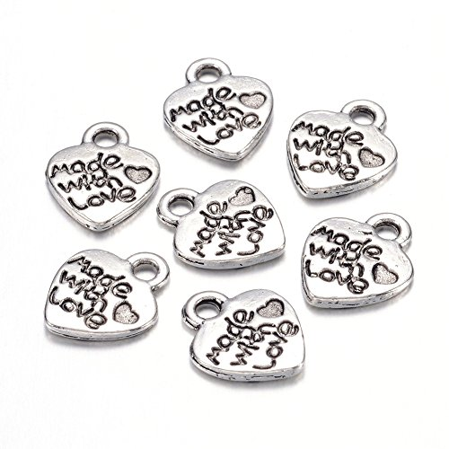 Kissitty 50-Piece Antique Silver Carved Word Made with Love Charms Tibetan Style 12.2x10mm Cadmium Free & Lead Free Heart Shapes Pendants with 2mm Hole for DIY Jewelry Making from Kissitty