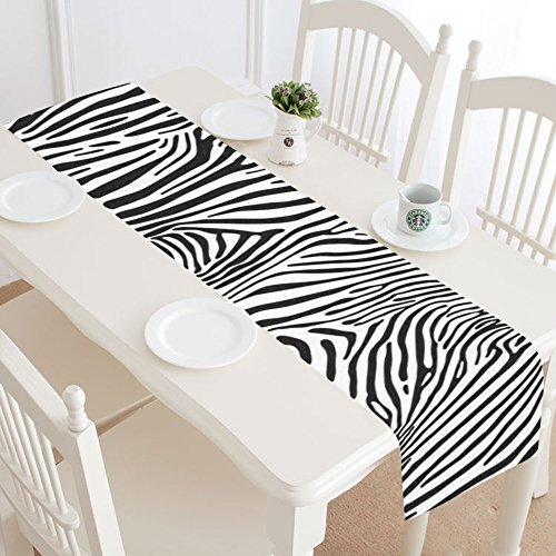 INTERESTPRINT Zebra Stripes Table Runner Home Decor 14 X 72 Inch, Animal Skin Table Cloth Runner for Wedding Party Banquet Decoration