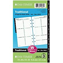 """Day-Timer Refill 2019, Two Page Per Week, January 2019 - December 2019, 3-3/4"""" x 6-3/4"""", Loose Leaf, Portable Size, Original (10831)"""