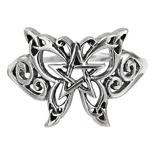 Sterling Silver Butterfly Pentagram Pentacle Ring Size 5
