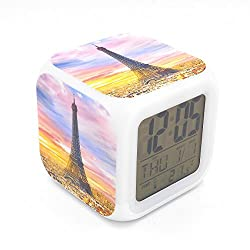 EGS New Eiffel Tower in Sunset Dusk Digital Alarm Clock Desk Table Led Alarm Clock Creative Personalized Multifunctional Battery Alarm Clock Special Toy Gift for Unisex Kids Adults