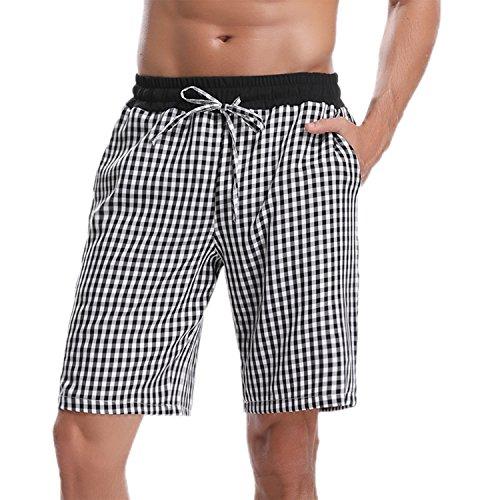 [해외]Hawiton 남성용 파자마 수면 반바지 라운지 잠옷 캐주얼 면 격자 무늬 하의 / Hawiton Men`s Pajama Sleep Shorts Lounge Sleepwear Causal Cotton Plaid Bottoms Black