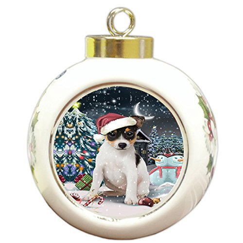 Have a Holly Jolly Rat Terrier Dog Christmas Round Ball Ornament POR832