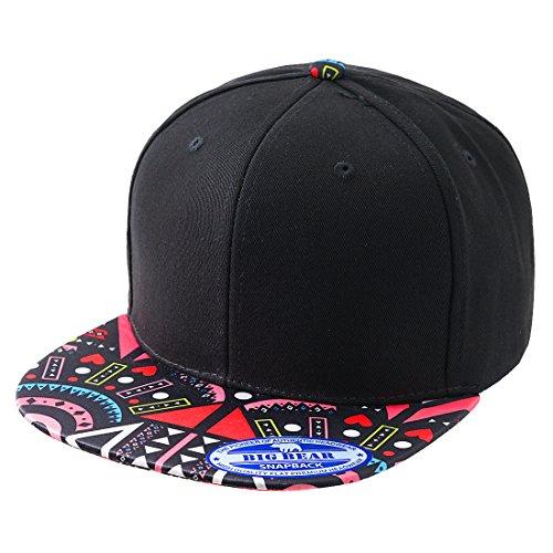 URBANCREWS Unisex Hipster Hip Hop Aztec Flat Bill Snapback Hats Red, - Hipster Snapbacks