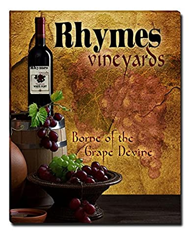 Rhymes's Vineyards Grapes Wine Gallery Wrapped Canvas Print (Cvs Rhymes)