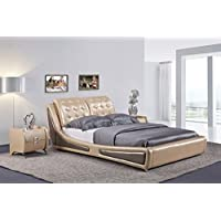 US Pride Furniture B8047-QB Victoria Leather Contemporary Platform Bed, Queen, Gold