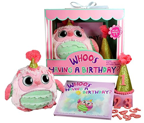 Whooo's Having a Birthday Gift Set for Girls- Book, Owl, and Keepsake Hat with Changeable Stickers for Years 1-9. Perfect First Birthday and Toddler Years 1 2 3 4 -