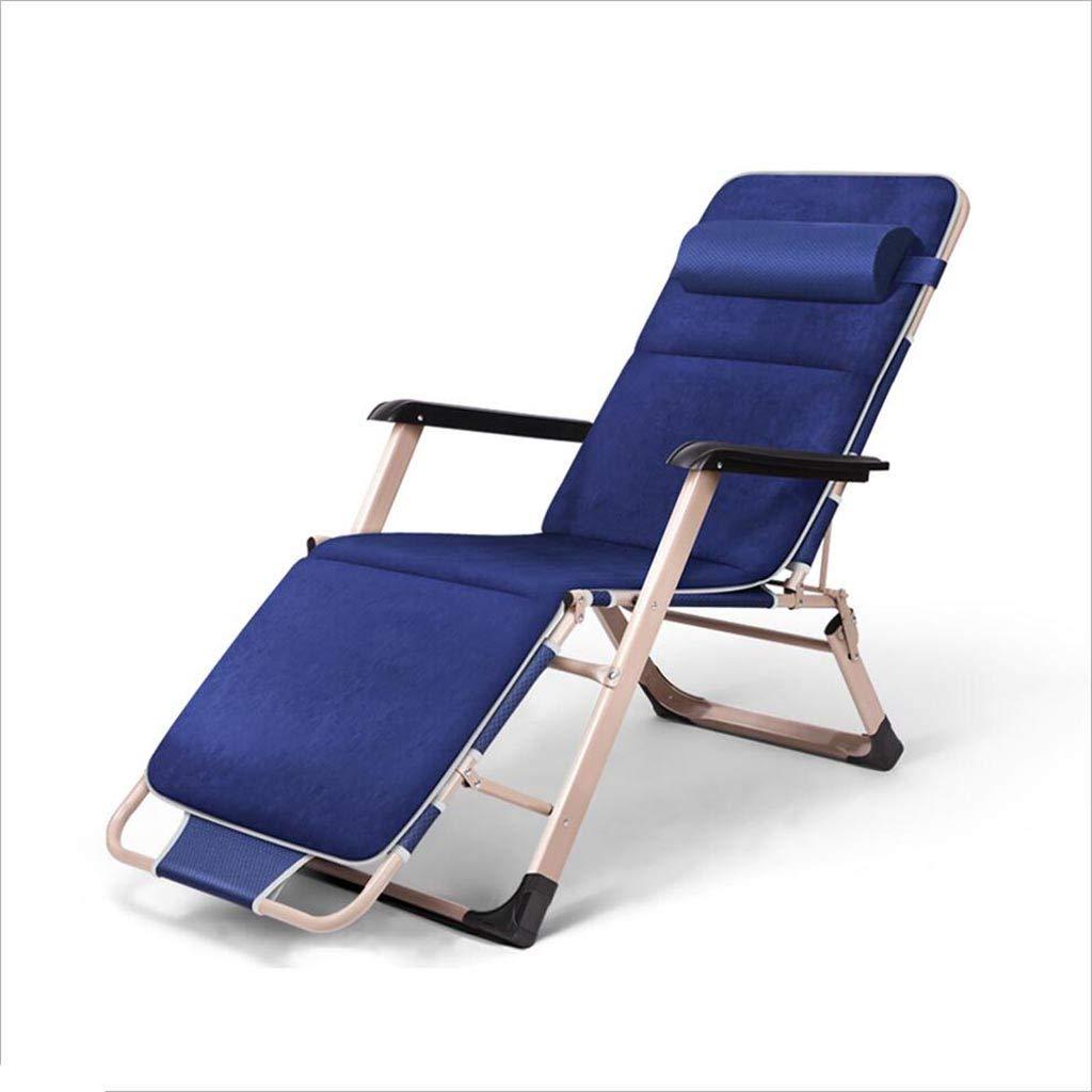 QZ HOME Stühle, Garten Sonnenliege Ferrolegierungsliege Liegestuhl Gartenstühle All Weather Textoline Multi-Angle Zusammenklappbare Kopfstütze Blau, Grau (Farbe : Blau)