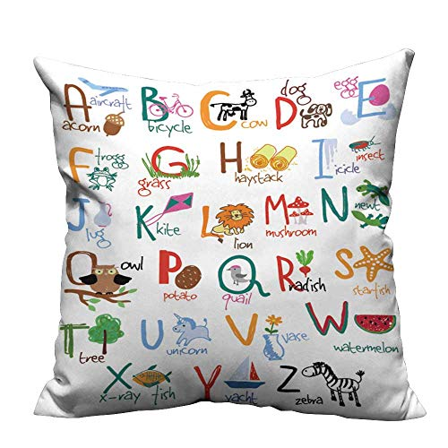 - YouXianHome Print Bed Pillowcases Alphabet Words Icons Kids ab Washable and Hypoallergenic(Double-Sided Printing) 21.5x21.5 inch