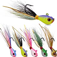 Fishing Jig Head Lures Bucktail Jigs Lead Teaser Fishing Fluke Lure Baits Deer Feather with Fishing Hooks for