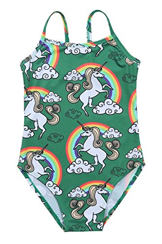 Liliane Girls One Piece Swimsuit Green/Rainbows-Unicorns (10-11 - Green Design Rainbow