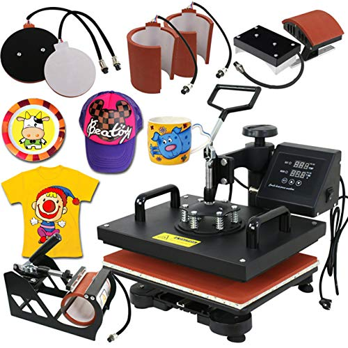 (Super Deal PRO 6 in 1 Combo Heat Press Machine T-Shirt Hat Cap Mug Plate Digital Transfer Sublimation Machine (6 in 1))