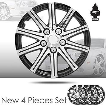 Nuevo diseño 14 pulgadas abs plástico 10 pinchos SILVER rueda tapacubos cubiertas de tapa de rueda conjunto completo de Lug piel 528 con ambientador: ...