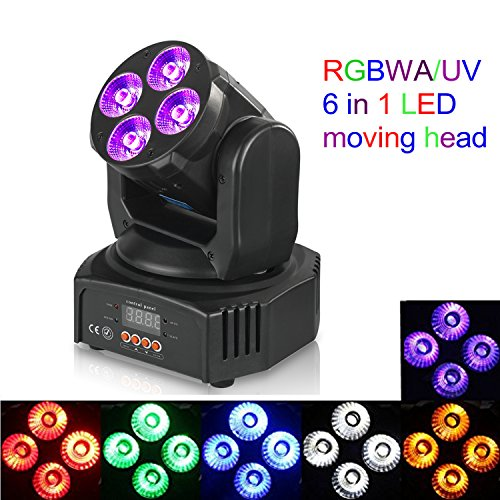Rainiers RGBWA/UV 6 in 1 LED Light Mini 50W Wash Rotating Light Moving Head Stage Effect Light with DMX for Disco KTV Club Party