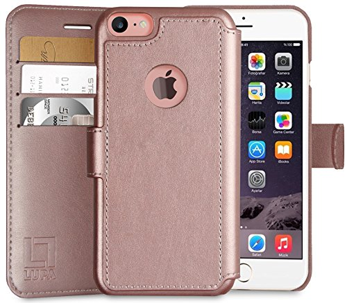 iPhone 7 Wallet Case, Durable and Slim, Lightweight with Classic Design & Ultra-Strong Magnetic Closure, Faux Leather, Rose Gold, Apple 7 (2016)