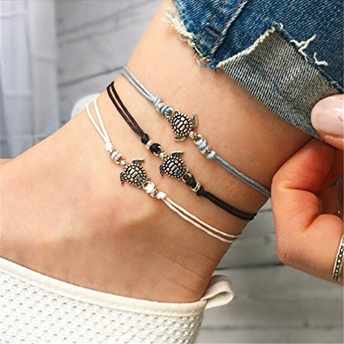 GUFER 3pcs Turtle Pendant Anklets Set Handmade Tricolor Wax Rope Adjustable Foot Chain Beach Barefoot Anklet Summer Jewelry