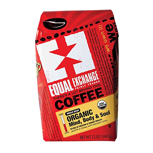 Equal Exchange Organic Coffee | Mind Body Soul | Smooth and Creamy | Hints of Almond, Malt and Dark Chocolate | Whole Bean | 12-Ounce Bag
