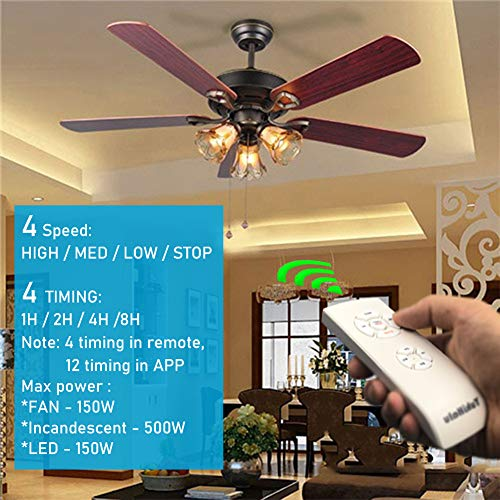 Smart Wifi Ceiling Fan Remote Control Kit Small Size And Universal 4 Speeds And 12 Countdown Timing Compatible With Alexa Google Assistant And Smart Life App No Hub Required Pricepulse