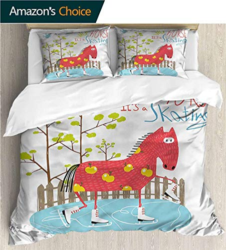 Bedding Sets Duvet Cover Set,Box Stitched,Soft,Breathable,Hypoallergenic,Fade Resistant Bedspreads Beach Theme Quilt Cover Children Comforter Cover-Quirky Wow Skating Horse On Ice (104