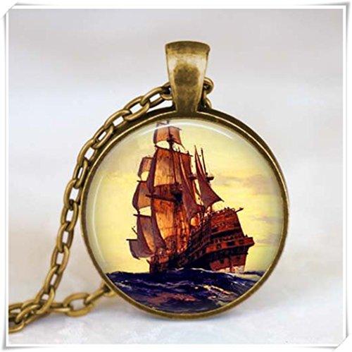 Sailboat pendant Pirate Ship jewelry Ship necklace Nautical ship pendant