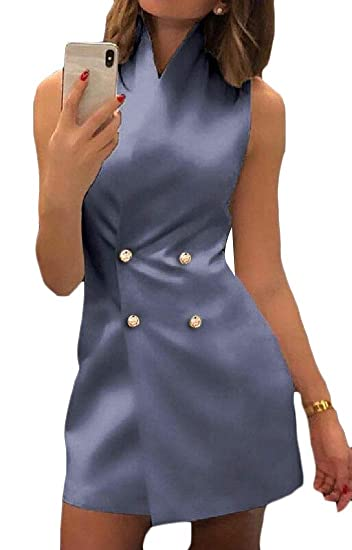 3ef00deb11110 Jotebriyo Women Slim Fit Double Breasted Solid Color Sleeveless Cocktail  Party Mini Dress at Amazon Women s Clothing store