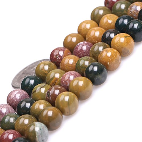 - Yellow Ocean Jasper Beads for Jewelry Making Natural Gemstone Semi Precious 8mm Round 15