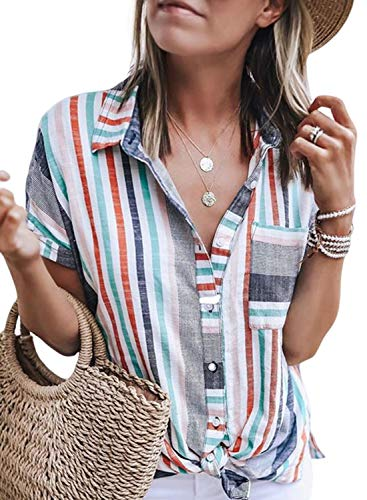 HOTAPEI Women's Summer Casual V Neck Striped Cuffed Sleeve Button up Collar Front Pockets Tunic Blouses Fashion 2019 Tshirts Tops Large