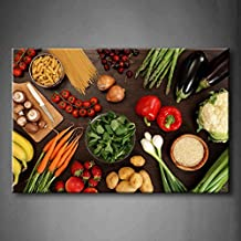 First Wall Art - Fresh Look Color Healthy Eating Of A Table Top Full Of Fresh Vegetables Fruit And Other Healthy Foods Wall Art Painting Pictures Print On Canvas Fruit The Picture For Home Modern Decoration (Stretched By Wooden Frame,Ready To Hang)