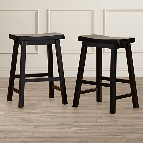 Home Bar Stools Set of 2 - Saddle Seat - 24'' Height - Contemporary Country Style High Chairs (Black)