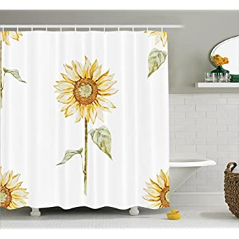 Sunflower Decor Shower Curtain Set By Ambesonne Sunflowers In Watercolor Painting Effect Minimalistic Design Decorative
