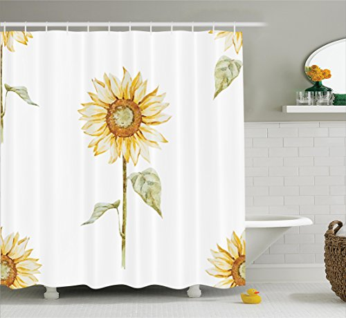 Sunflower Decor Shower Curtain Set By Ambesonne, Sunflowers In Watercolor Painting Effect Minimalistic Design Decorative Artwork, Bathroom Accessories, 69W X 70L Inches, Yellow Green