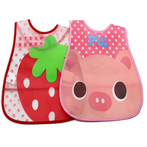 Afeel 2piece waterproof Baby bibs Cleans easily Crumb Catcher Pocket (Girl)
