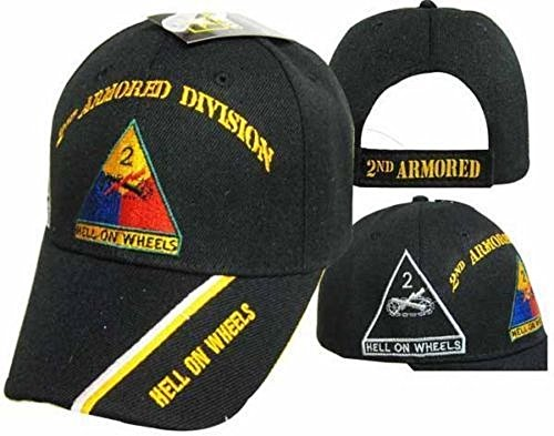 AES U.S. Army 2ND Armored Division Hell On Wheels Shadow Black Embroidered Cap Hat ()