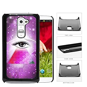 Cool Hipster Mysterious Eye with Purple Nebula Background and Geometric Triangle LG G2 Hard Snap on Plastic Cell Phone Cover